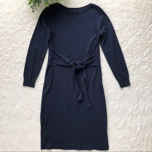 Banana Republic navy blue tie front sweater dress